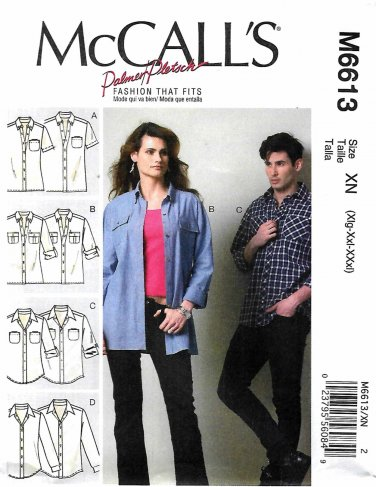 McCall's Sewing Pattern 6613 Misses Mens Unisex Chest Size 46-56 Palmer & Pletsch Button Front Shirt