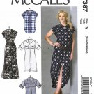 McCall's Sewing Pattern 7387 Misses Size 4-14 Button Front Dress Top Tunic Sleeve Options