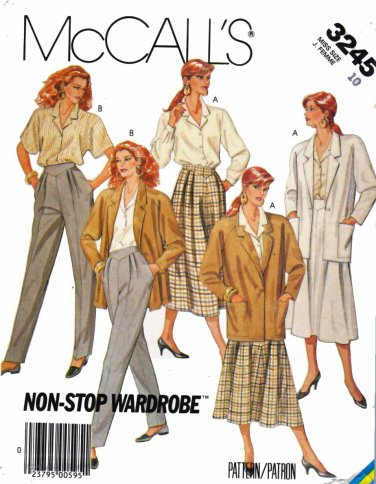 McCalls Sewing Pattern 3245 Misses Size 14 Wardrobe Jacket Skirt Pants Shirt Blouse