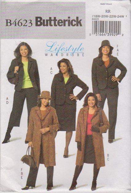 Butterick Sewing Pattern 4623 Womans Plus Size 18W-24W Easy Wardrobe Jacket Skirt Pants Hat