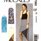 McCall's Sewing Pattern 7393 Misses Size 16-26 Easy Knit Long Bias Skirts Side Slit Seam Details