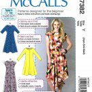 McCall's Sewing Pattern 7382 M7382 Misses Size 16-26 Easy Knit Pullover Dress Sleeve Length Options