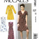 McCall's Sewing Pattern 7381 Misses Size 16-26 Dresses Pleated Skirt Sleeve Tie Options