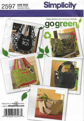Simplicity Sewing Pattern 2597 0582 Bags Purse Handbag Pocketbook Tote