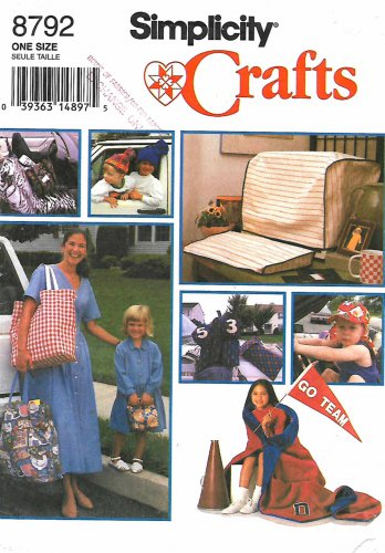 Simplicity Sewing Pattern 8792 Fashion Accessories Hats Bags Car Seat Cover Child's Nap Blanket