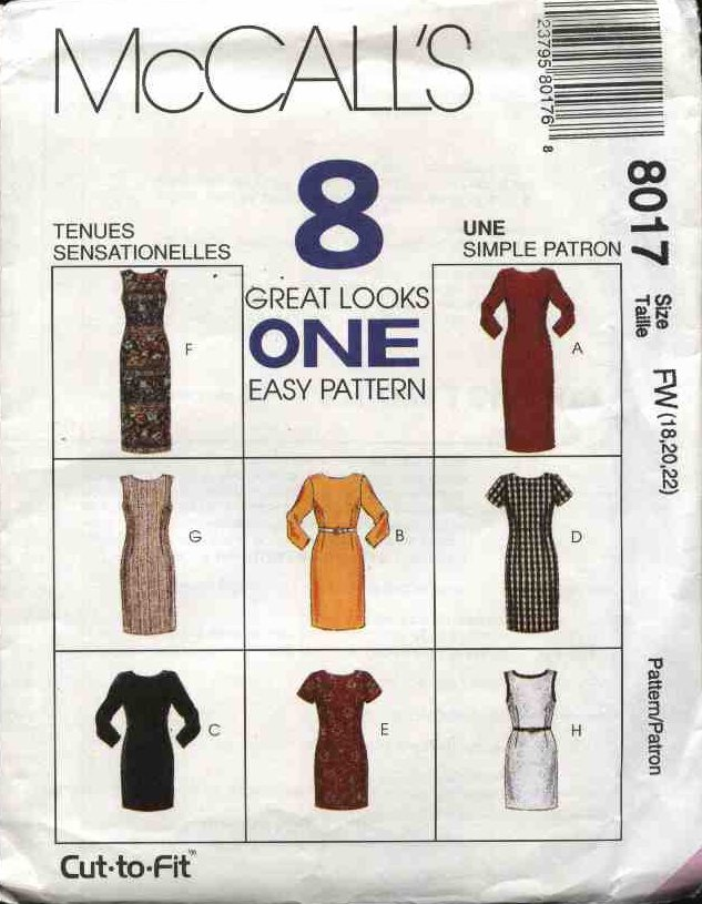McCall's Sewing Pattern 8017 Misses Size 18-22 Easy Classic Straight Short Long Dress