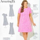 Simplicity Sewing Pattern 1458 Women's Plus Size 20W-28W Princess Seam Dress Sleeve Collar Options