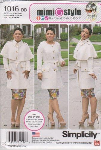 Simplicity Sewing Pattern 1016 Womens Plus Size 20W-28W Coat Detachable Cape Belt