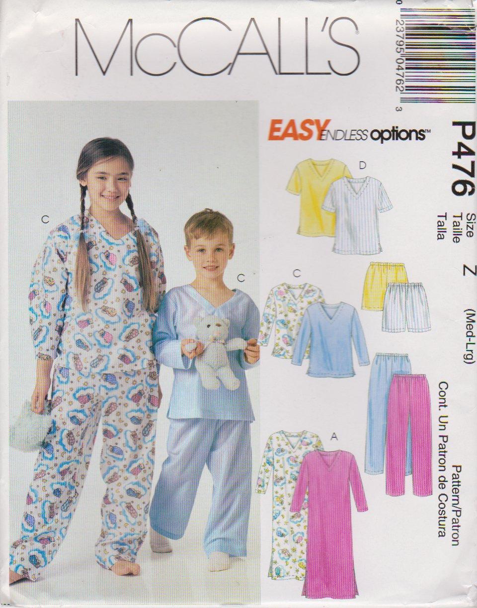 McCall's Sewing Pattern P476 MP476 4278 Boys Girls Size 7-12 Pajamas Nightshirt Top Pants Shorts