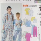 McCall's Sewing Pattern P476 MP476 4278 Boys Girls Size 7-12 Pajamas Nightshirt Top Pants Shorts