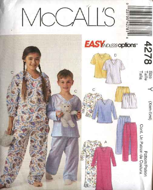 McCall's Sewing Pattern 4278 M4278 P302 P476 Boys Girls Size 3-6 Easy Nightshirt Pajamas Tops Pants