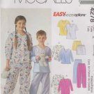 McCall's Sewing Pattern 4278 P302 P476 Boys Girls Size 7-12 Easy Nightshirt Pajamas Tops Pants