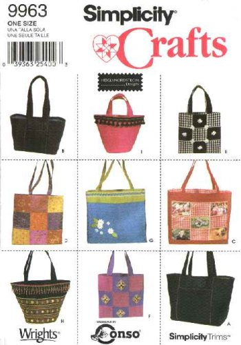 Simplicity Sewing Pattern 9963 Crafts Totes Bags Shapes Size Options