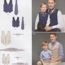 Simplicity Sewing Pattern 8023 Boys S - L Men's S - XL Lined Vest Bowtie Cummerbund Ascot