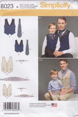 Simplicity Sewing Pattern 8023 Boys S - L Men's S - XL Lined Vest Bowtie Cummerbund Ascot