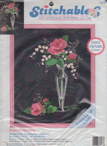 """Stitchables Rose Perfection 72148 Easy Crewel Embroidery Kit Sue Roedder 8"""" x 10"""" Frame Included"""