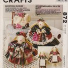 McCall's Sewing Pattern 872 6874 Bathroom Bunnies Towel Holders Tissue Cover Faye Wine
