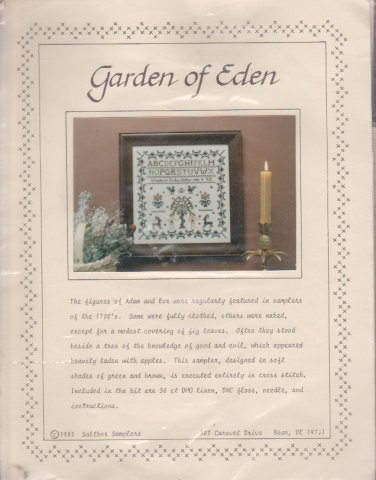 Saltbox Samplers Garden of Eden Counted Cross Stitch Kit