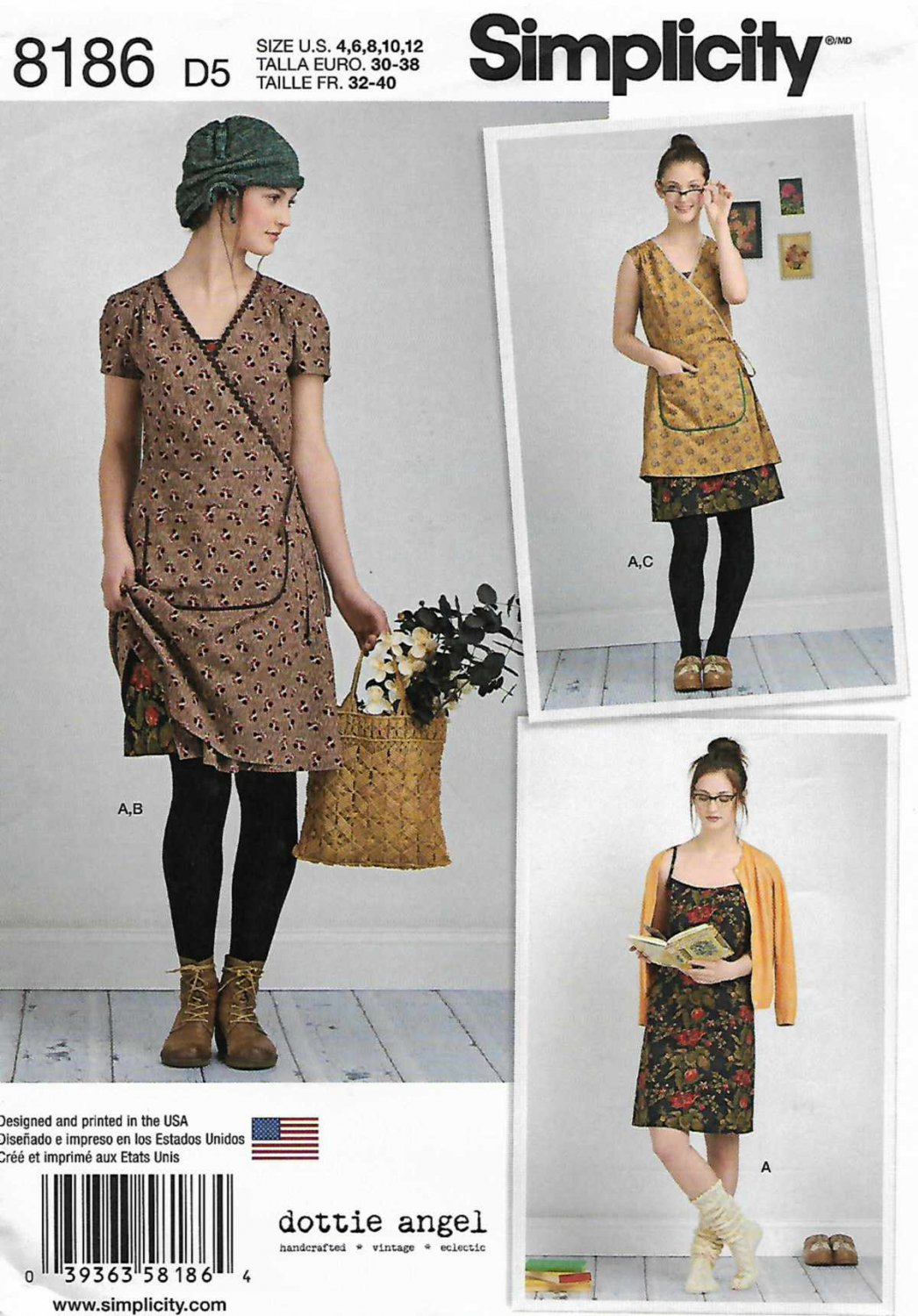 Simplicity Sewing Pattern 8186 Misses Sizes 4-12 Wrap Front Dress Pullover Slip Slip-Dress