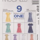McCall's Sewing Pattern 8107 Misses Size 8-12 Easy Princess Seam Short Long Dresses