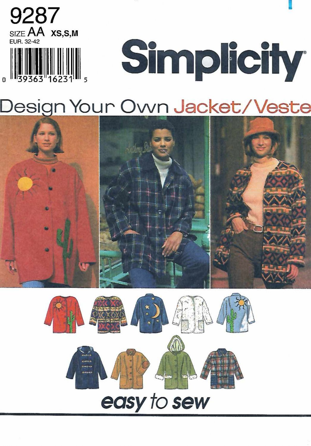 Simplicity Sewing Pattern 9287 Misses Sizes 6-16 Button Front Jacket Optional Hood Applique