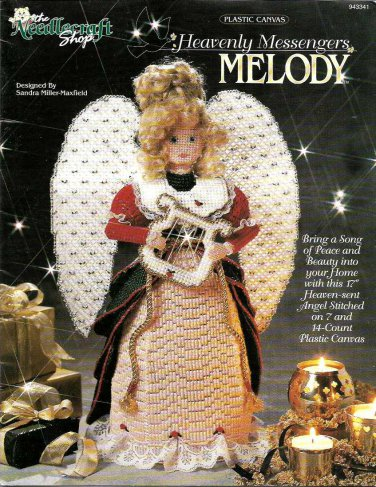 """Heavenly Messangers Melody Plastic Canvas 17"""" Angel #943341 Sandra Miller-Maxfield"""