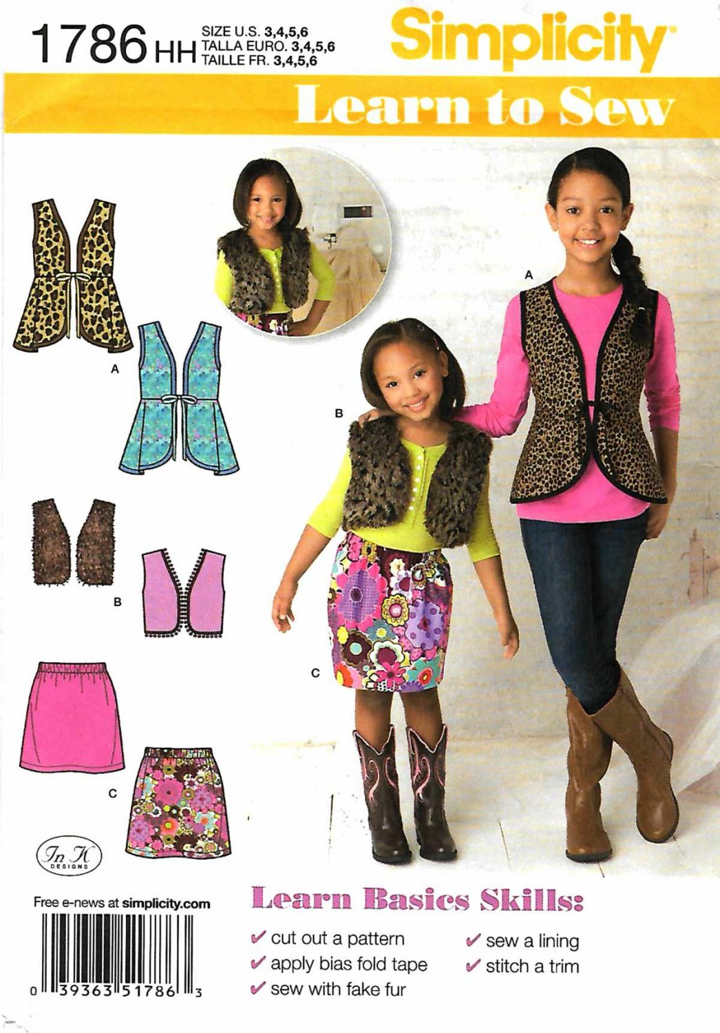 Simplicity Sewing Pattern 1786 Girl's Sizes 3-6 Learn-to-Sew Vest Skirt