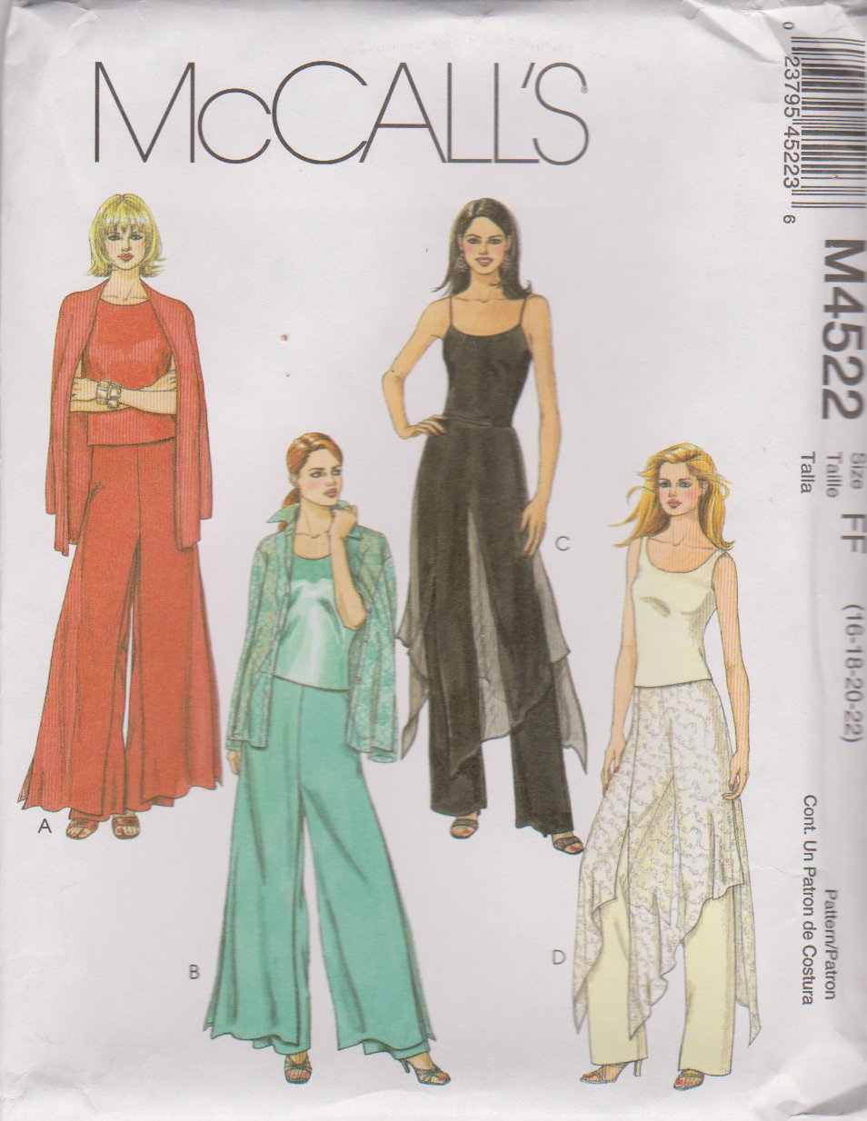 McCall's Sewing Pattern 4522 Misses Size 16-22 Fitted Long Pants With Overskirt Variations