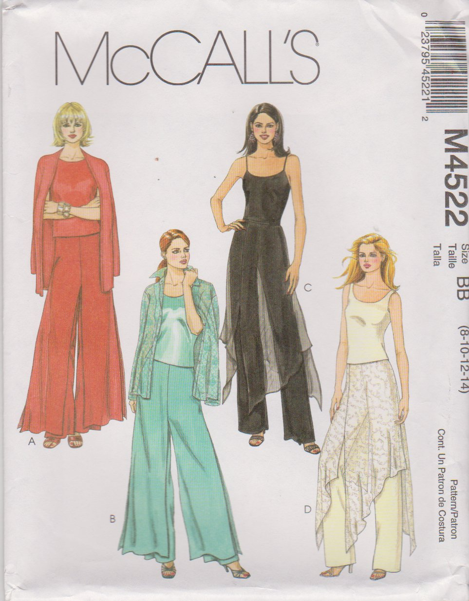 McCall's Sewing Pattern 4522 Misses Size 8-14 Fitted Long Pants With Overskirt Variations