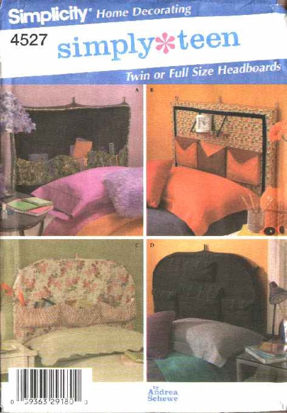 Simplicity Sewing Pattern 4527 Teen Style Headboard Covers
