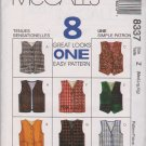 McCall's Sewing Pattern 8337 Boys Girls Size 7-14  Easy Lined Button Front Vests