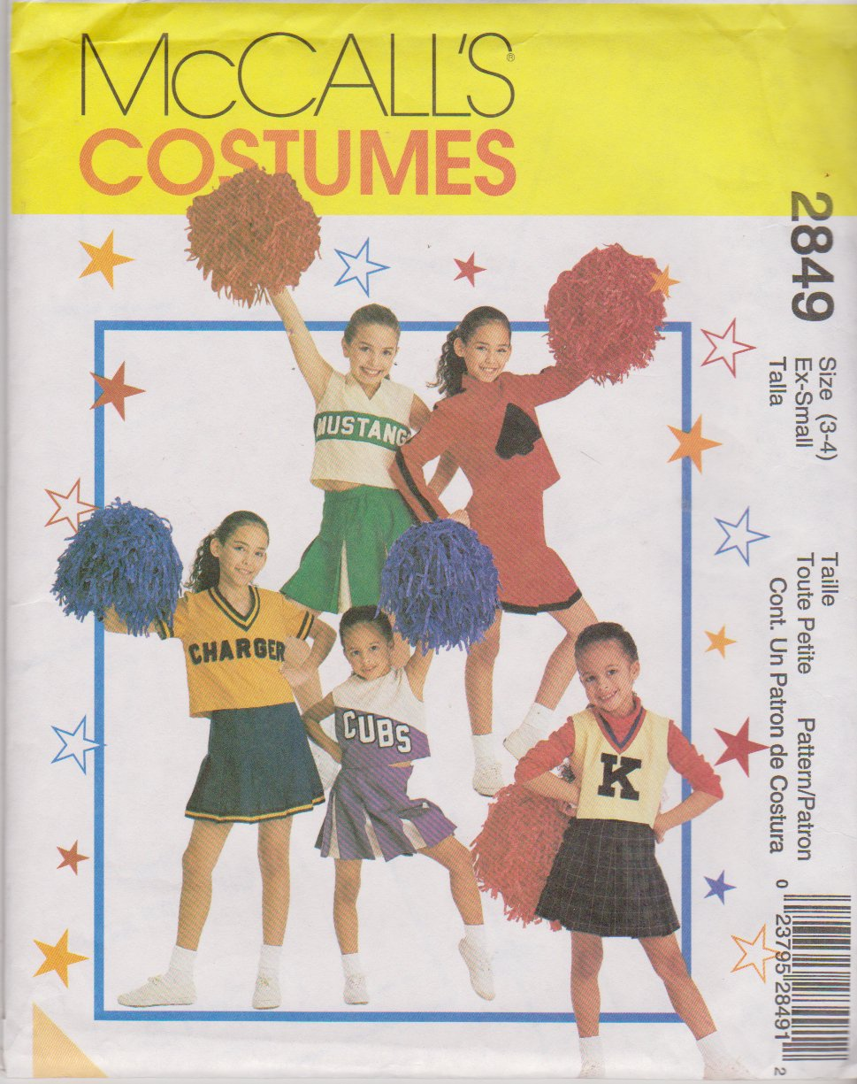 McCall's Sewing Pattern 2849 M2849 Girls Size 3-4 Cheerleaders Outfits Pleated Skirt Tops Panties