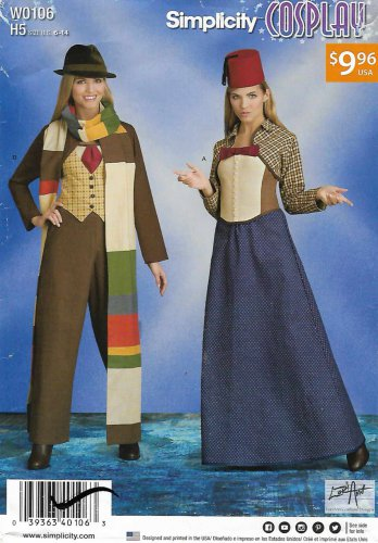 Simplicity Sewing Pattern W0106 8200 Misses Size 6-14 Cosplay Time Travel Costumes