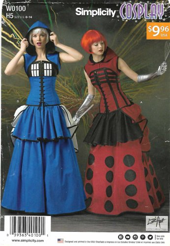 Simplicity Sewing Pattern W0100 0100 1095 Misses Size 6-14 Cosplay Time Traveler Costumes