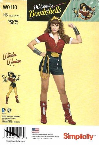 Simplicity Sewing Pattern W0110 0110 8196 Misses Size 6-14 DC Comics Bombshells Wonder Woman Costume