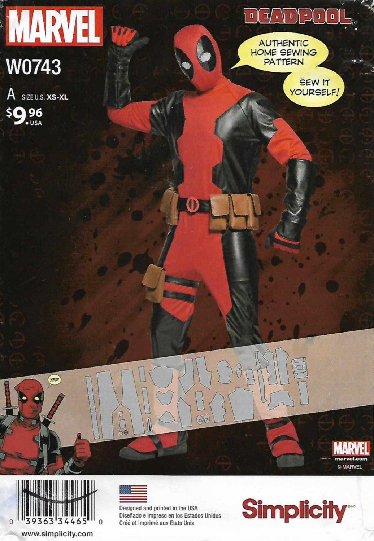"Simplicity Sewing Pattern W0743 0743 8236 Men's Chest Size 30-48"" Marvel Comics Deadpool Costume"
