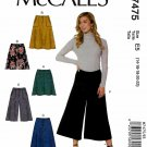 McCall's Sewing Pattern 7475 Misses Size 14-22 Easy A-Line Skirts Shorts Culottes Gauchos