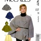 McCall's Sewing Pattern 7477 Misses Size 16-26 Easy Snap Button Front Capes Hood Belt Pockets