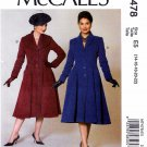 McCall's Sewing Pattern 7478 Misses Size 14-22 Archive Collection c. 1956 Button Front Coat