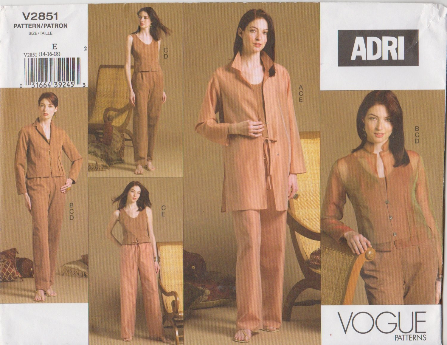 Vogue Sewing Pattern 2851 Misses Size 14-16-18 Easy Wardrobe ADRI Jacket Pants Top Shirt