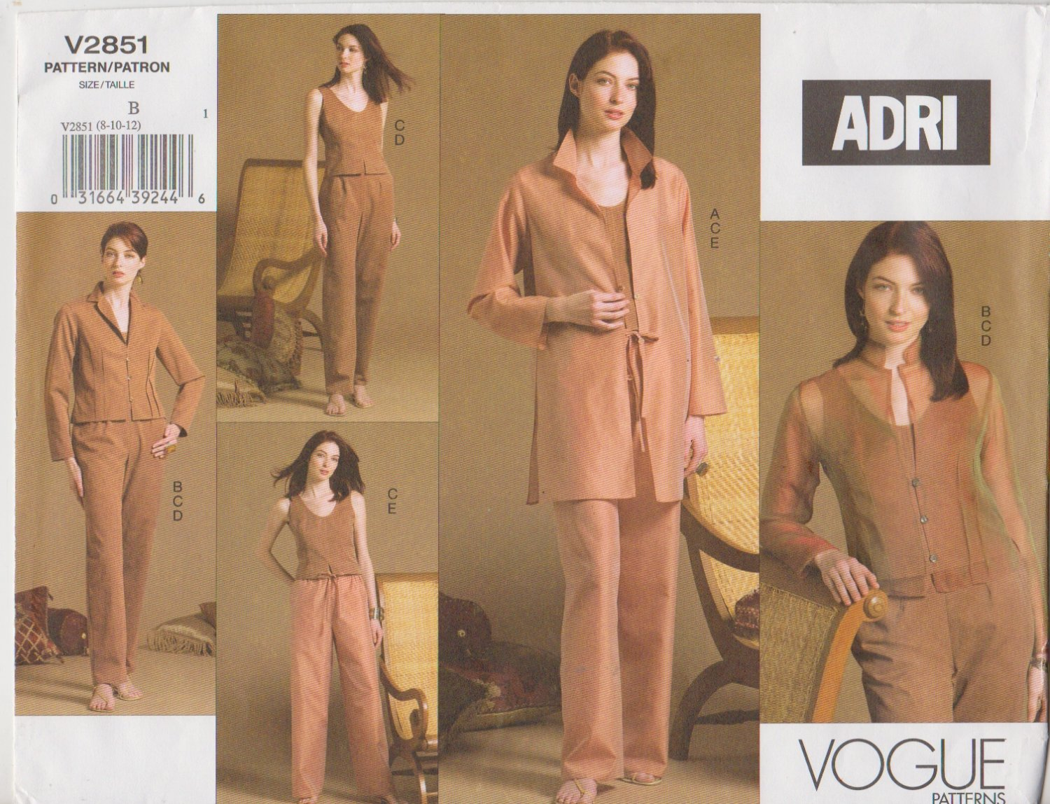 Vogue Sewing Pattern 2851 Misses Size 8-10-12 Easy Wardrobe ADRI Jacket Pants Top Shirt