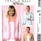 McCalls Sewing Pattern 5057 Misses Size 8-14 Easy Sew News Classic Lined Jackets Cardigans