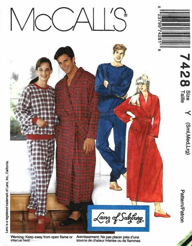 "McCalls Sewing Pattern 7428 Mens Misses Size 31.5 - 40"" Wrap Front Robe Pajama Pants Top"
