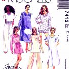 McCalls Sewing Pattern 7413 Misses Size 16-22 Easy Basic Nightgown Pajamas Pants Top Shorts
