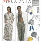 McCalls Sewing Pattern 9680 Mens Misses Size 38-40 Easy Wrap Front Robe Pajama Pants Shorts