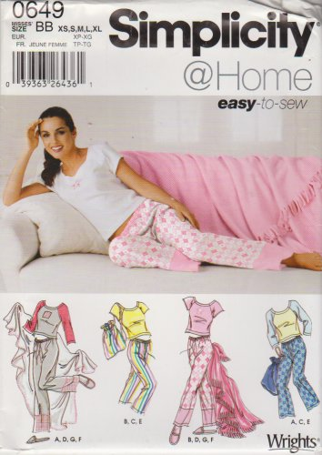 Simplicity Sewing Pattern 0649 Misses Size XS-XL Pajamas Pants Slippers Top Blanket Bag