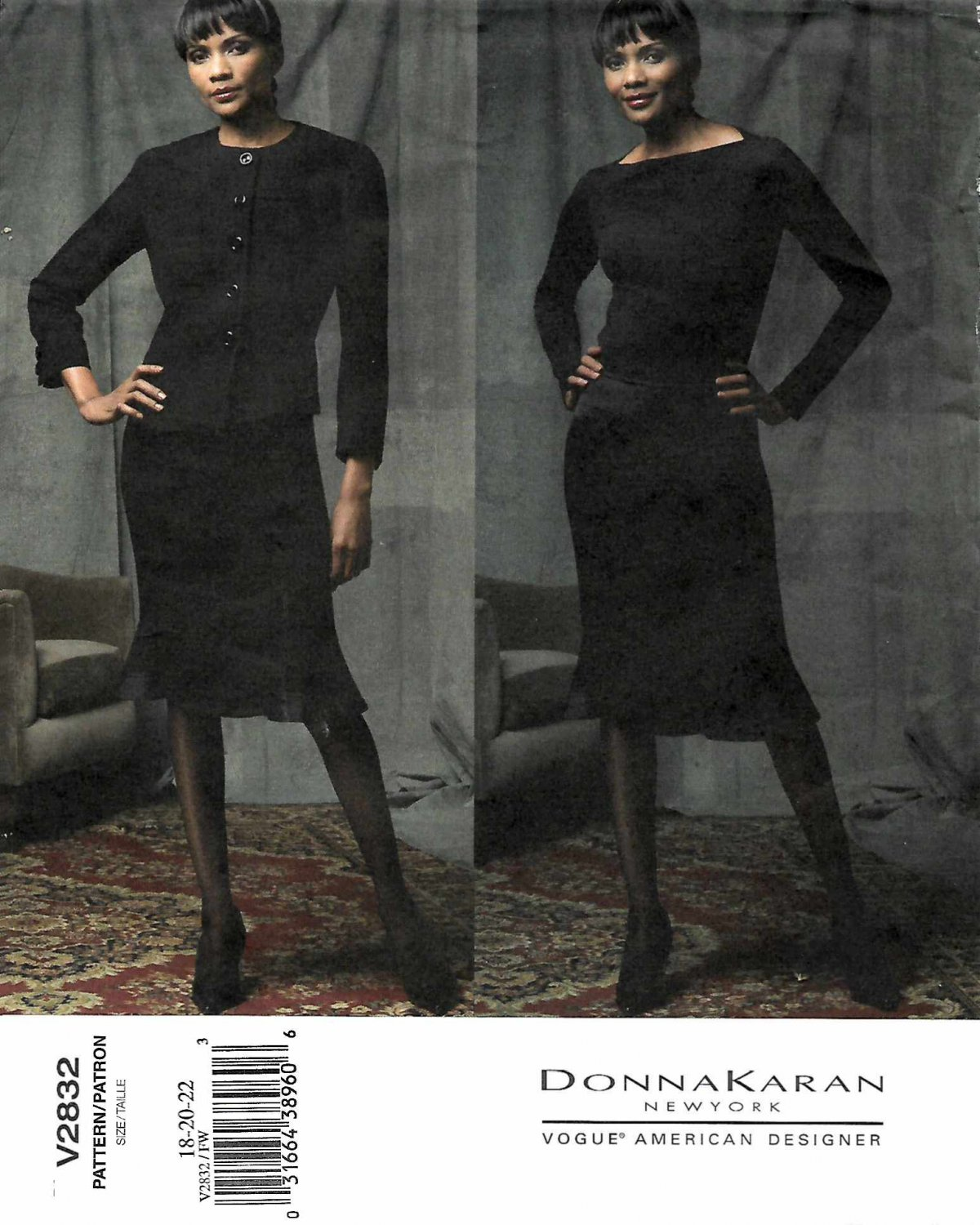Vogue Sewing Pattern 2832 Misses Size 18-20-22 Suit Jacket Skirt Donna Karan