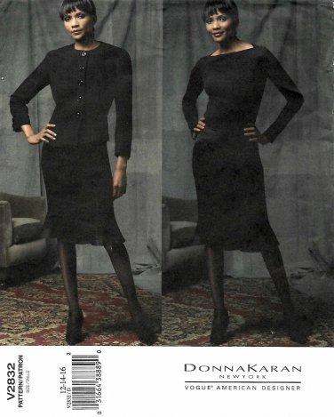 Vogue Sewing Pattern 2832 Misses Size 12-14-16 Suit Jacket Skirt Donna Karan