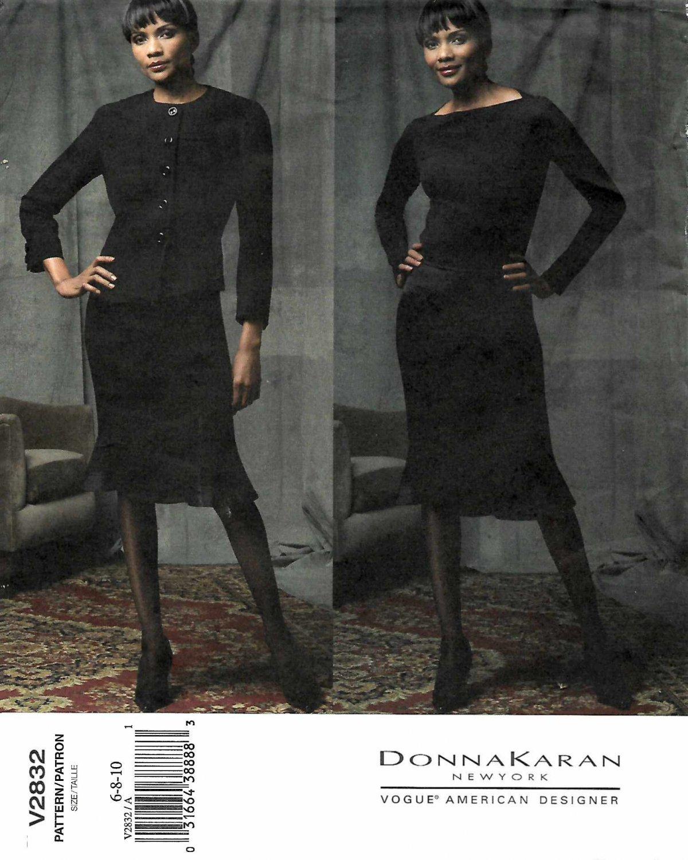 Vogue Sewing Pattern 2832 Misses Size 6-8-10 Suit Jacket Skirt Donna Karan