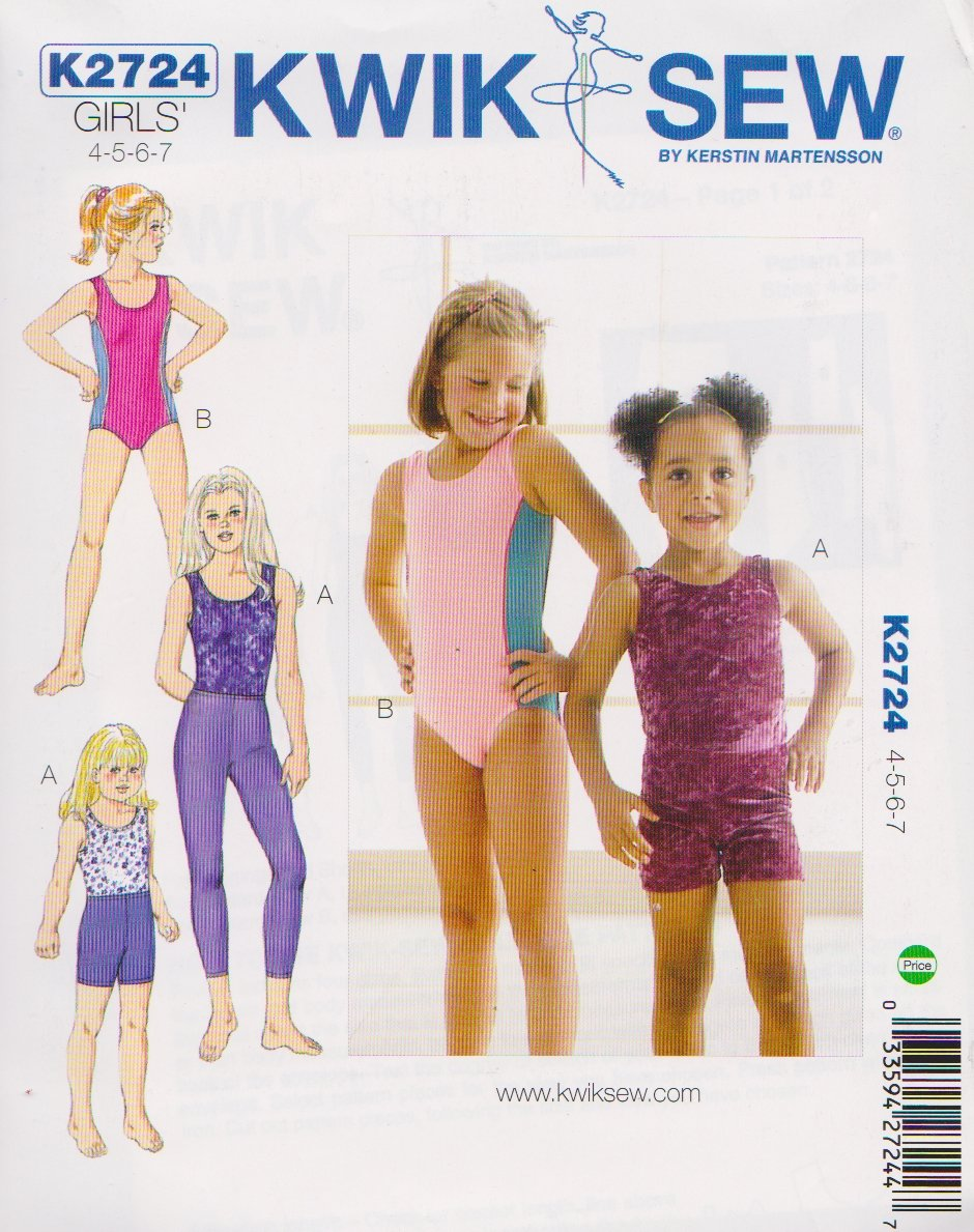 Kwik Sew Sewing Pattern 2724 Girls Size 4-7 Leotards Long Leggings Shorts Dance Gymnastics